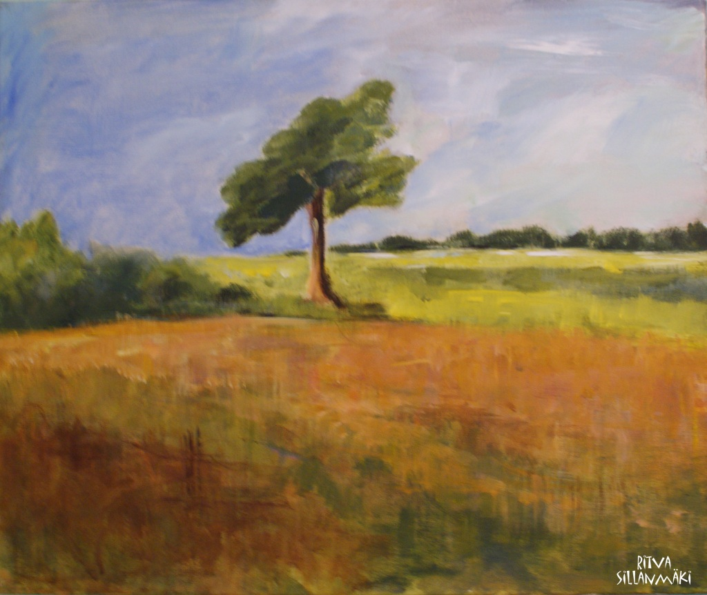Tree in French countryside - acrylic painting