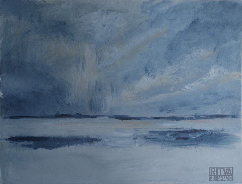 Grey  scenery - acrylic painting  size 32 x 41 cm